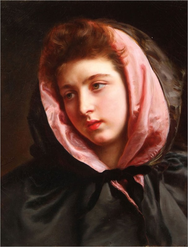 Gustave Jean Jacquet (French, 1846-1909) A Young Beauty with Silk Cape