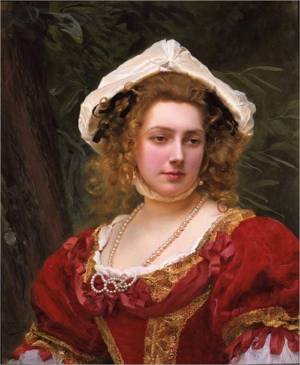 young girl with red dress-Gustave Jean Jacquet (french, 1846-1909)