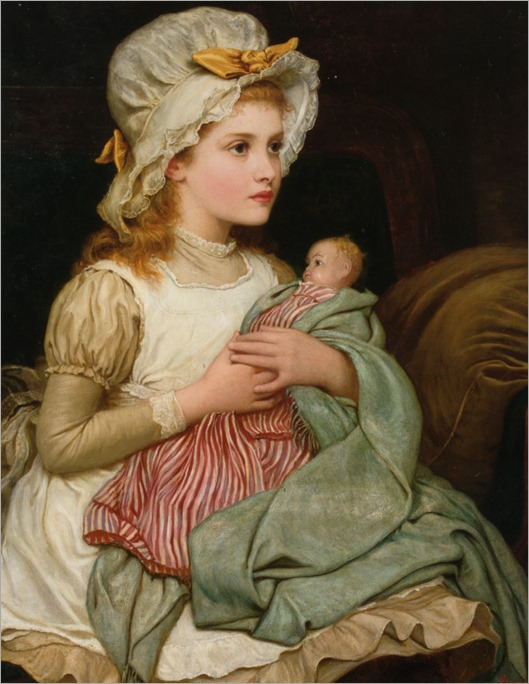 A Young Girl with Her Doll - Kate Perugini (english painter)