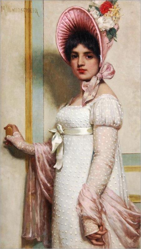 Marie Wandscheer (1856-1936, dutch)-Portrait of a young lady wearing a bonnet