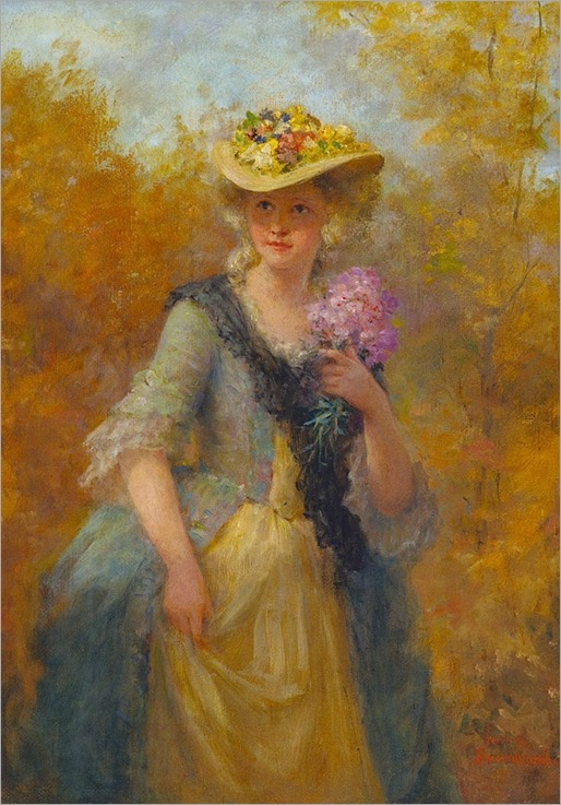 Sunday Bonnet by Jennie Augusta Brownscombe (american,1850-1936)