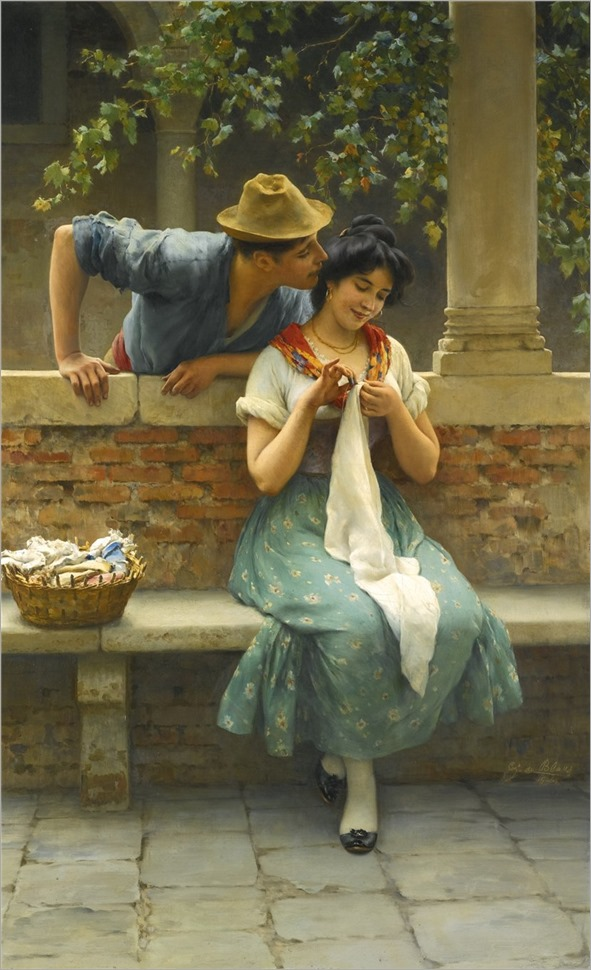 Eugen von Blaas (Austria,1843-1931) Venetian Lovers. 1906