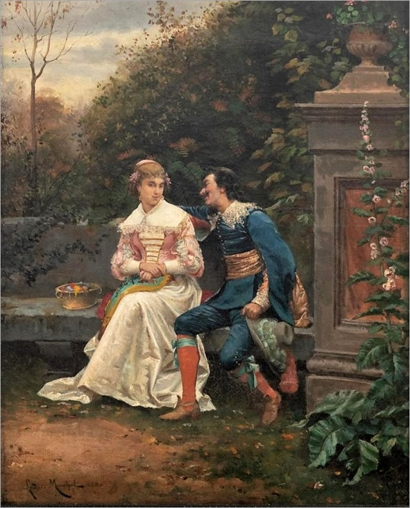 Monchot L., the flatterer, oil on canvas, dated 1880