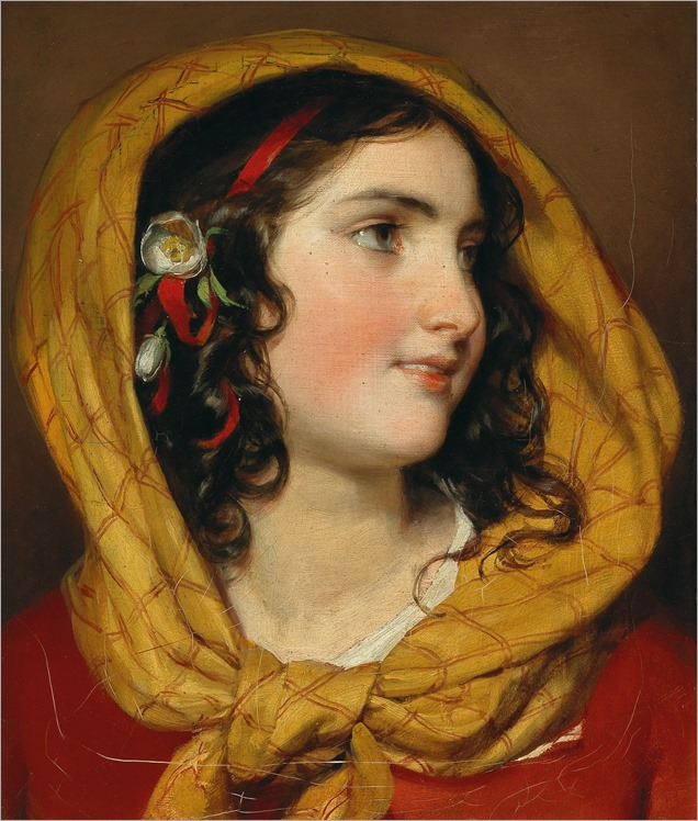 friedrich-von-amerling-Portrait of a girl with a red hairband and a yellow headscarf, c. 1857