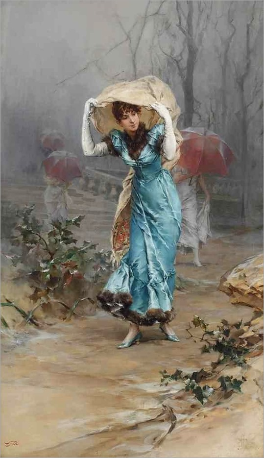 Taking cover from the storm by Frederik Hendrik Kaemmerer
