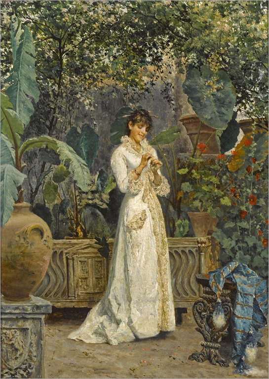 a-lady-in-her-garden-Cesare-Tiratelli(1864-1933)