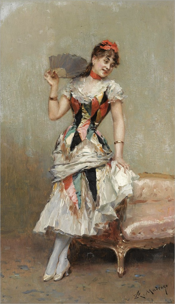 ALINE CON ALBANICO (ALINE WITH A FAN)-R.Madrazo (1841-1920, spanish)