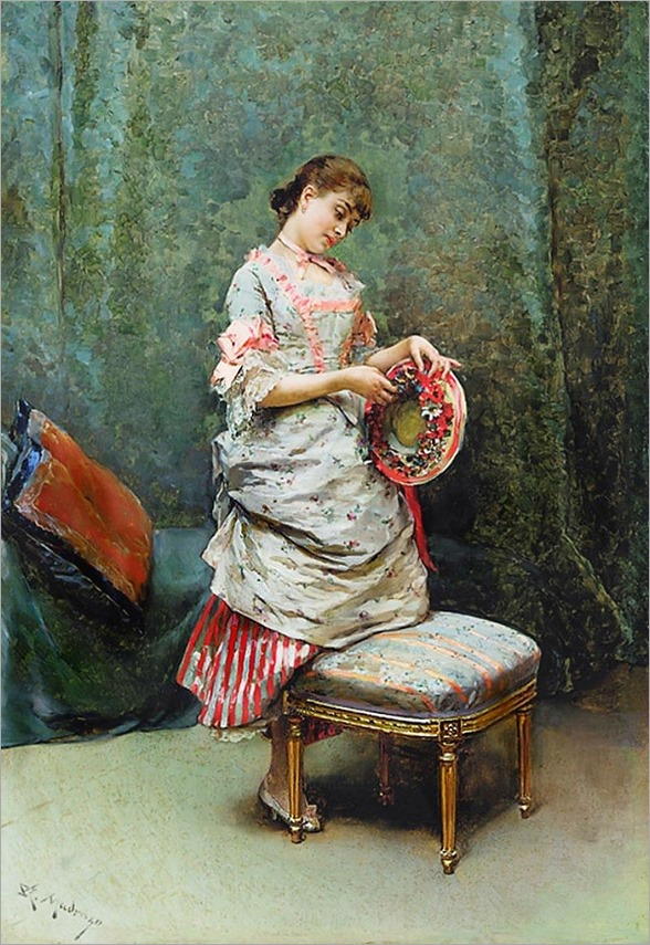 Aline holding a hat by Raimundo de Madrazo y Garreta (Spanish painter, 1841-1920)