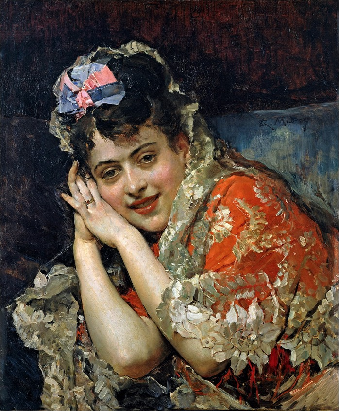 Aline Masson with a white mantilla (c.1875)-Raimundo de Madrazo y Garreta (2)