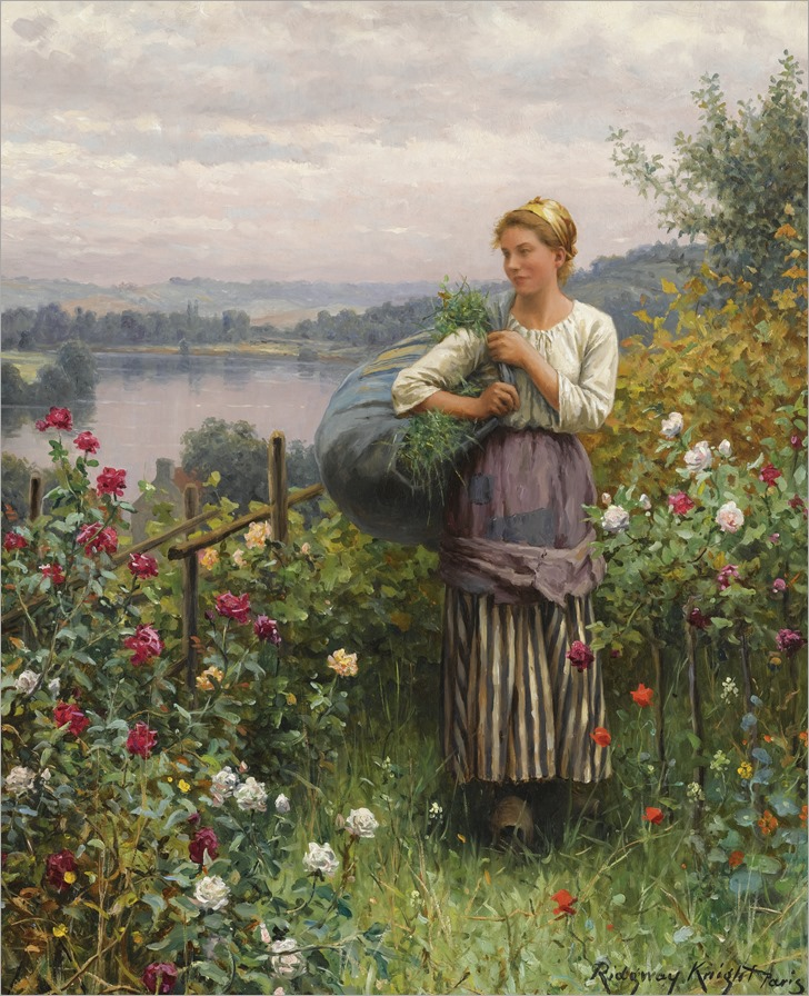 Daniel-Ridgway-Knight(american-1839-1924)-the-rose-garden