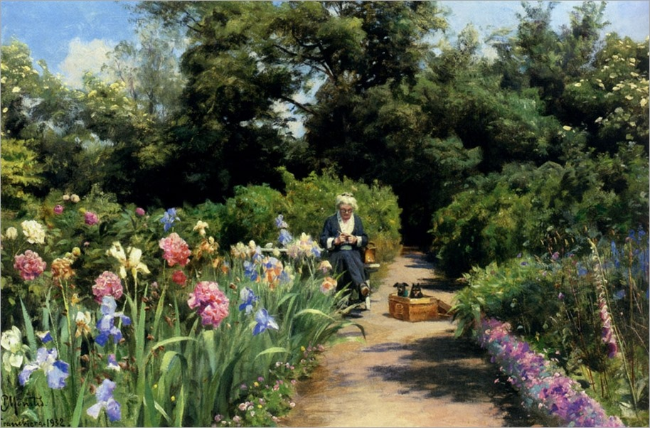 Knitting in the Garden-Peder-Mork-Monsted-1932