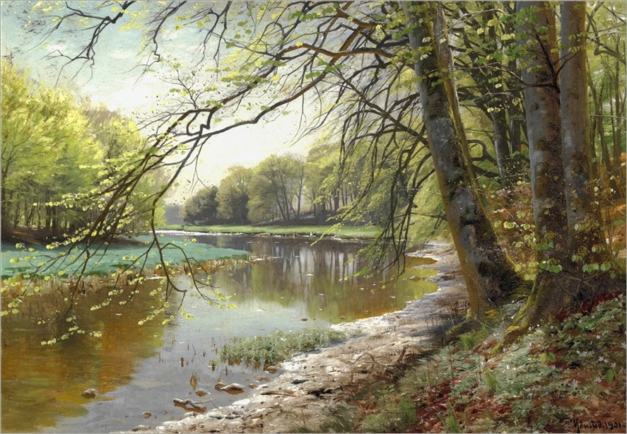Peder Mönsted (1859-1941) Brook in a spring forest with beech trees becoming green. 1901