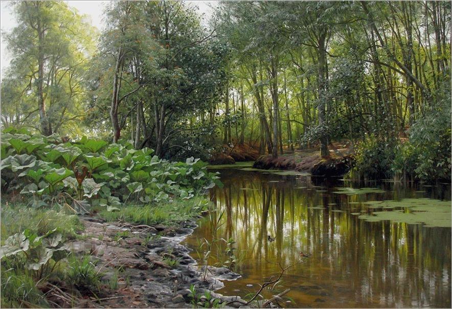 Peder Mørk Mønsted (1859-1941) View of Lellinge Stream. 1905