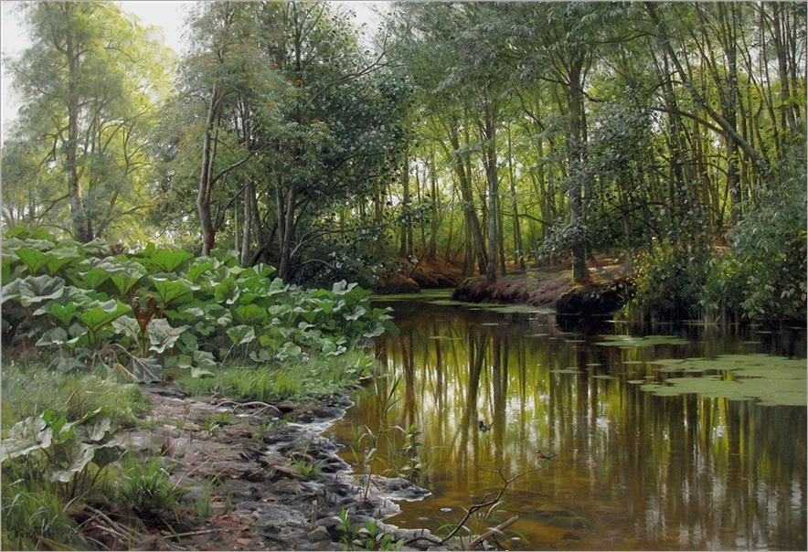 Peder Mørk Mønsted (1859-1941) View of Lellinge Stream. 1905