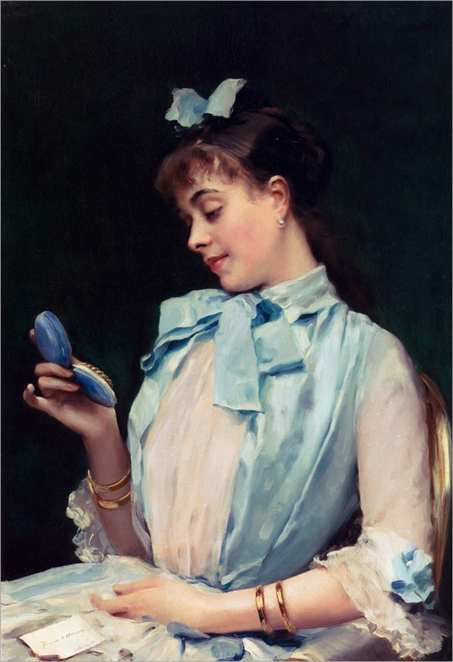 Portrait of Aline Mason in Blue by Raimundo Madrazo