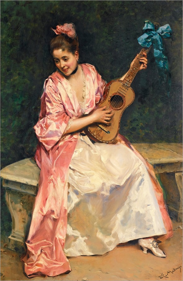 Raimundo de Madrazo (spanish, 1841-1920)-Aline with guitar