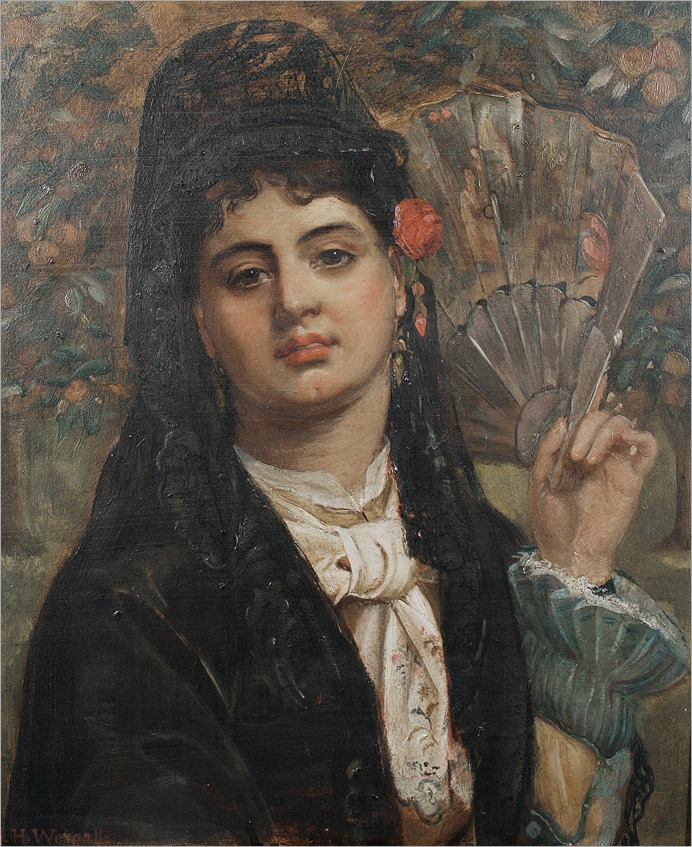 Arthur Howes Weigall (British, active circa 1856-1892)-portrait of a spanish girl