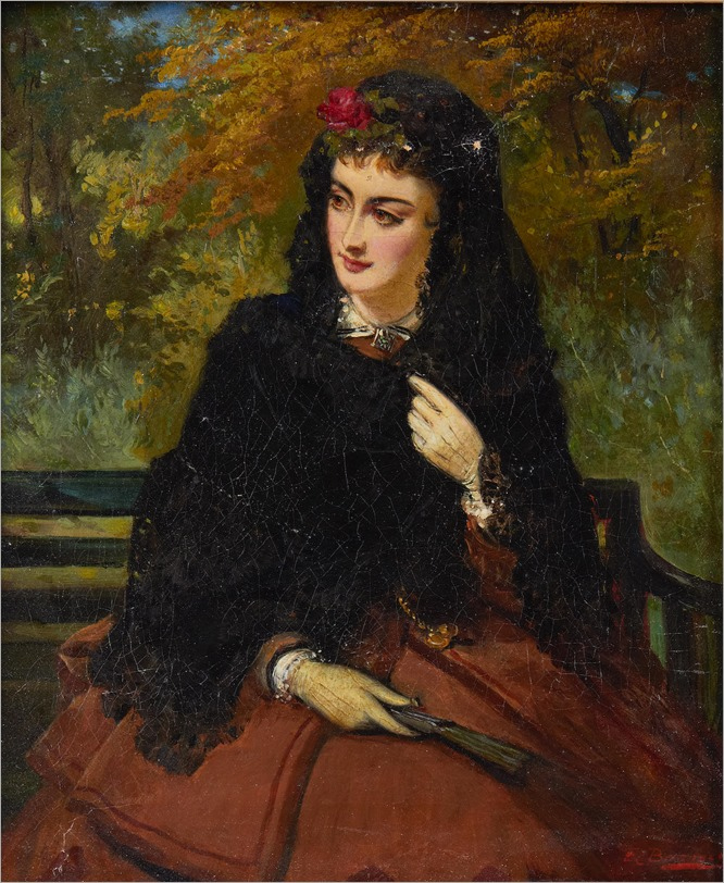 Edward Charles Barnes (British, circa 1830-1882)-A spanish beauty