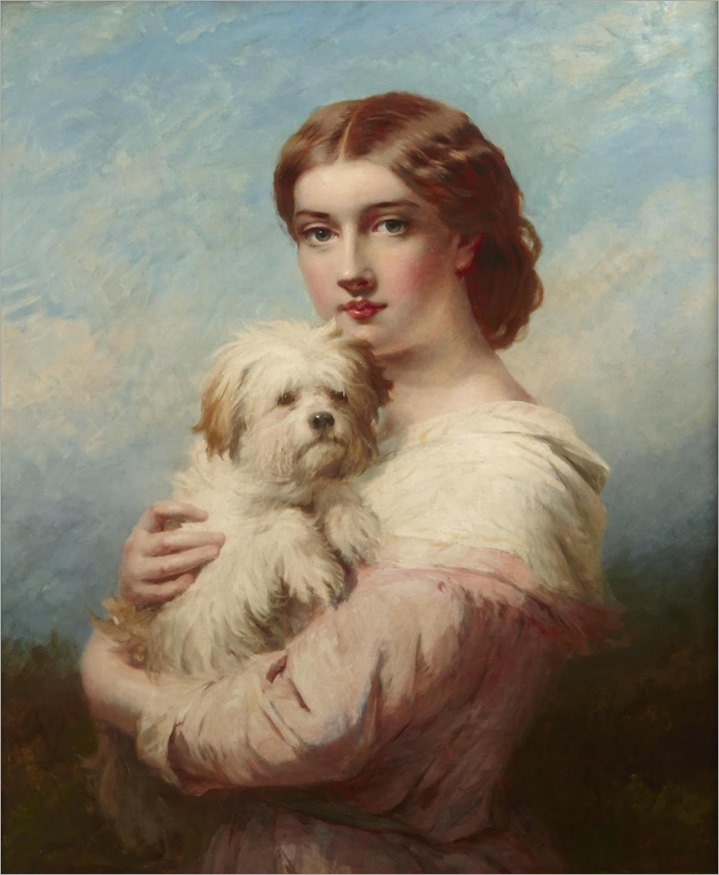 James John Hill-a young lady and her dog