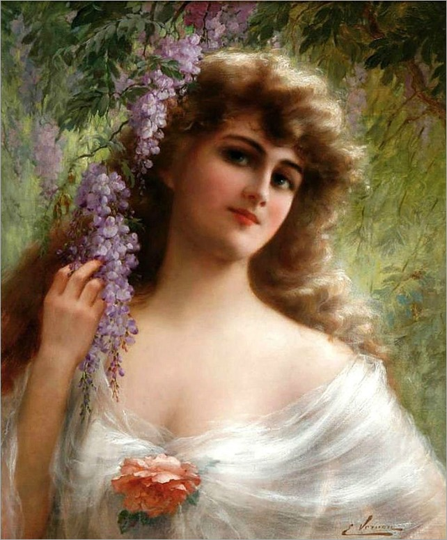 a maiden under the wisteria-Emile Vernon (french, 1872-1919)