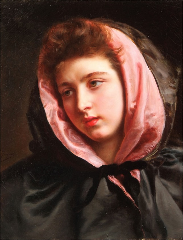 Gustave Jean Jacquet (french, 1846-1909)A Young Beauty with Silk Cape)