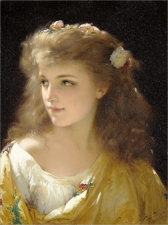 Pierre Olivier Joseph Coomans (1816-1889) A portrait of a young woman