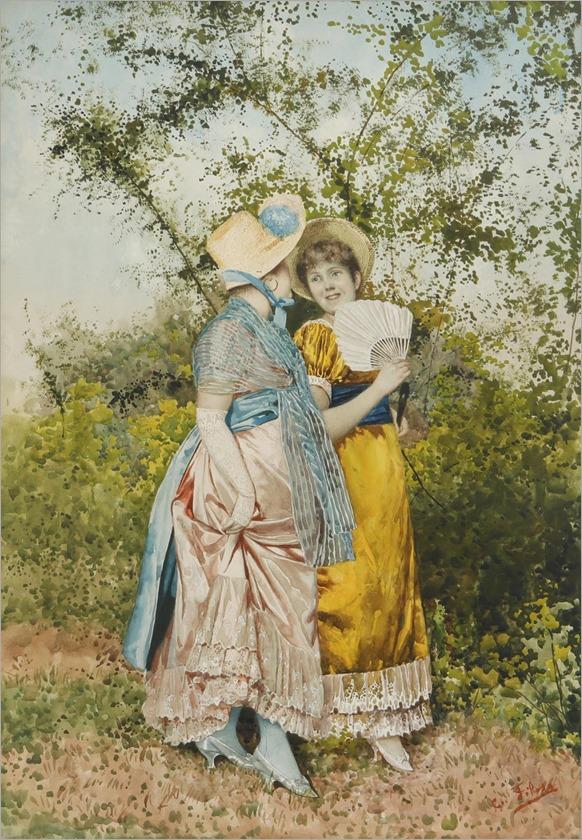 Giovanni Battista Filosa, (Italian, 1850-1935)-conversation in the garden