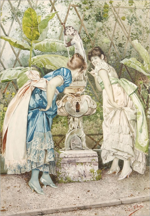 Giovanni Battista Filosa, (Italian, 1850-1935)-the garden fountain